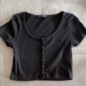 Brandy Melville Black Buttoned Crop Top
